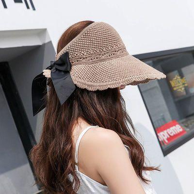 草帽子女夏天防晒空顶卷卷遮阳帽防紫外线可折叠大帽檐百搭太阳帽