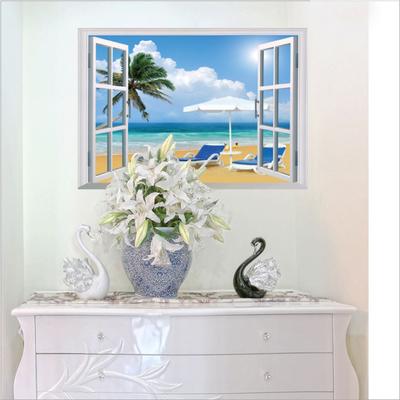 创意3d立体假窗风景墙贴纸画客厅卧室学生宿舍寝室墙面装饰可移除