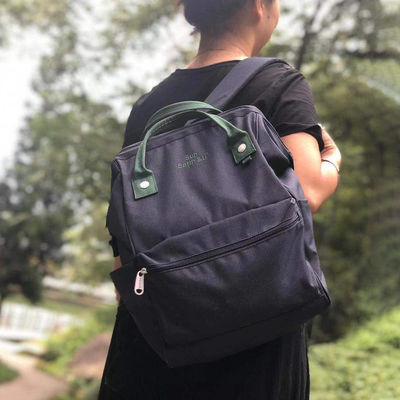 日本正品sunearth超轻防水麻衣布撞色大容量旅行背包书包双肩包