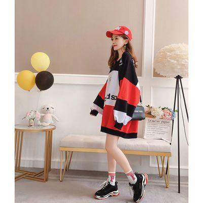 中长款长袖t恤女学生韩版卫衣百搭拼色宽松蝙蝠袖大码女装上衣潮