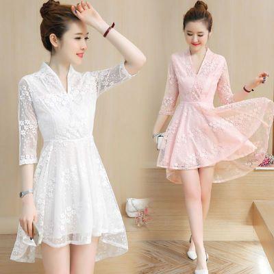 连衣裙夏2020新款韩版小个子V领不规则下摆燕尾仙气中袖蕾丝裙子