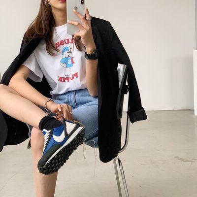 纯棉卡通印花短袖t恤女2020春季新款韩版学生宽松内搭打底衫实拍