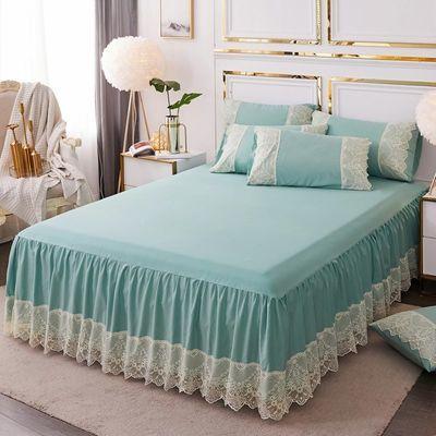 春夏新款韩式公主风蕾丝边床裙水洗棉单件床罩1.5/1.8m防尘保护套