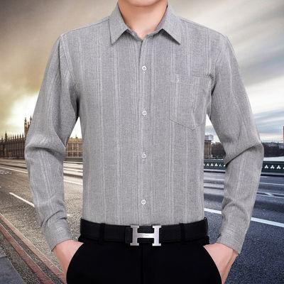 16255/棉麻长袖衬衫男中老年上衣爸爸春夏秋冬褂子老人大码男装透气衬衣