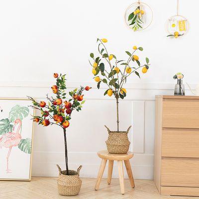 仿真植物盆栽柠檬树客厅摆件电视柜室内装饰落地仿真水果大型绿植
