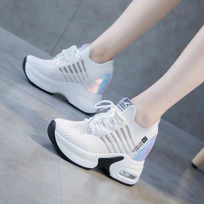 网面内增高小白鞋女2020夏季新款网红厚底透气网鞋百搭休闲运动鞋