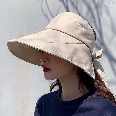 日本UV防晒帽子女韩版百搭遮脸大檐网红渔夫帽防紫外线遮阳空顶帽