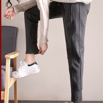 孕妇裤子秋冬季外穿长裤加绒加厚宽松版休闲运动孕妇裤大码200斤