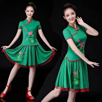 舞蹈服套装女成人新款中老年跳舞比赛裙子夏季短袖广场舞服装刺绣