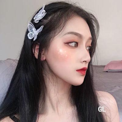 韩国网红ins风少女心森系仙女边夹头饰品女蕾丝蝴蝶结甜美鸭嘴夹