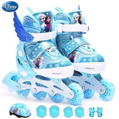91235/迪士尼溜冰鞋儿童全套装男童女童旱滑鞋初学者直排轮可调节大小码