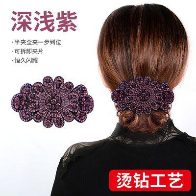 水钻发夹后脑勺弹簧夹子妈妈头饰发卡盘头发的韩国发饰卡子顶夹女