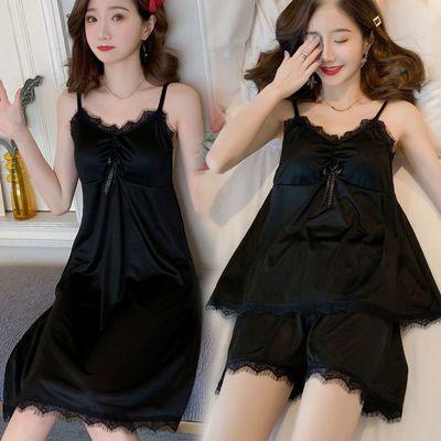 性感冰丝睡裙女夏韩版可爱甜美吊带睡衣蕾丝仿真丝绸中长款家居服