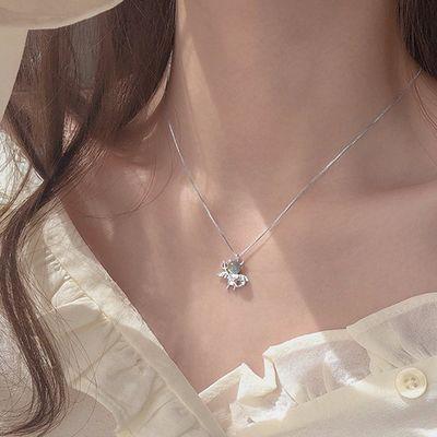 925纯银月光石小恶魔吊坠项链设计感小众森系女潮学生锁骨链嘻哈