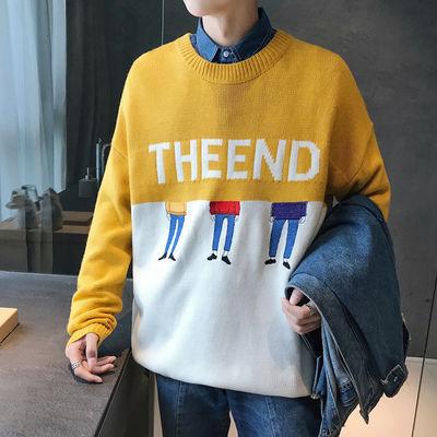 冬季毛衣韩版潮流男生圆领针织衫修身外套学生长袖套头毛线秋上衣