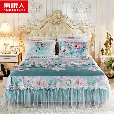 南极人家纺1.8米床凉席冰丝席三件套空调席子折叠席1.5米床裙床罩