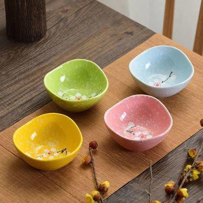 日式手绘和风陶瓷碟酱家用醋碟蘸料碟饭店小菜碟调味碟4个装包邮