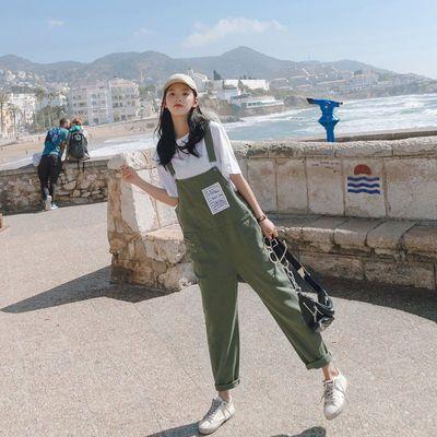 夏季少女背带裤韩版可爱学院风百搭高中初中学生套装吊带裤子