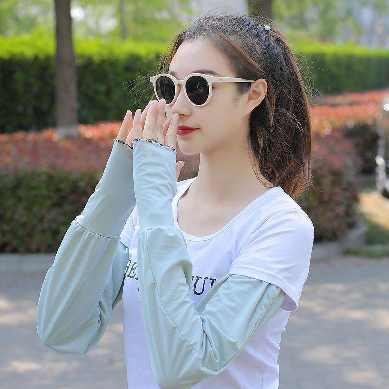 防晒冰丝袖套女夏季宽松长款手套薄款防紫外线开车遮阳护臂冰袖男