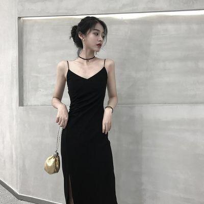 2020新款女装黑色显瘦不规则吊带背心紧身开叉连衣裙性感内搭长款