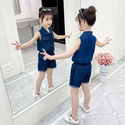 女童夏装网红套装2020新款儿童洋气中大童女孩夏季牛仔时髦潮衣服