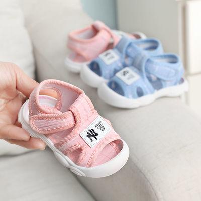 夏季新款女宝宝凉鞋1-2岁包头防踢学步鞋男软底防滑婴儿公主鞋子