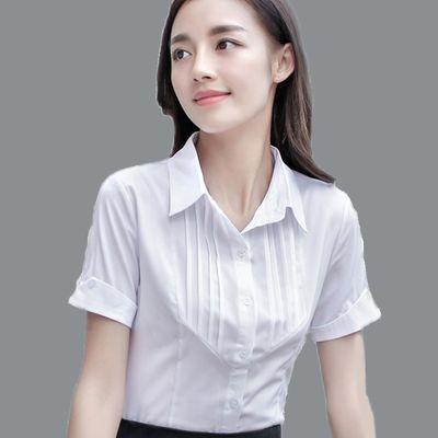 2020新款春夏装女职业衬衫短袖修身简约学生范雪纺打底衫OL正装