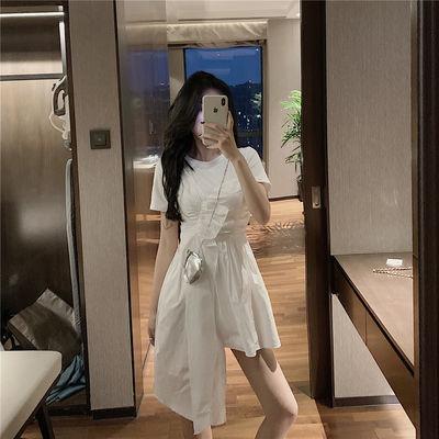 A字裙不规则褶皱连衣裙2020夏季新款小众短袖中长款裙子气质女装