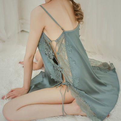 性感睡裙夏季冰丝睡衣女吊带夏宽松丝绸蕾丝V领露背仿真丝家居服
