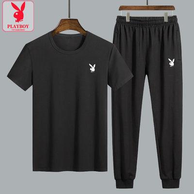 花花公子正品新款套装短袖T恤男裤子夏季薄款韩版休闲运动两件套—品牌女装网