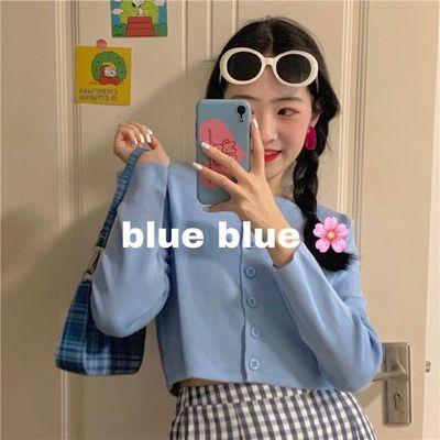 2020春夏新款韩版网红薄款外搭开衫修身短款上衣防晒长袖针织衫女