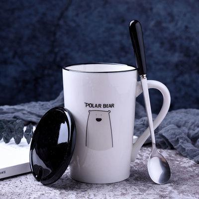 创意陶瓷马克杯带盖带勺大容量水杯情侣杯咖啡杯家用泡茶杯奶茶杯