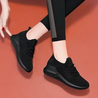 黑色休闲鞋运动鞋女2020春夏新款女鞋轻便透气舒适软底百搭旅游鞋