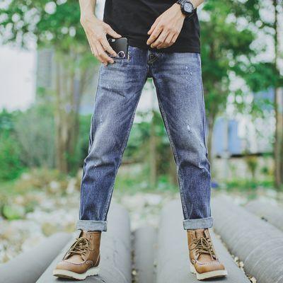 夏季新款日系复古水洗简约牛仔裤男宽松美式休闲九分做旧小脚裤子