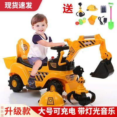儿童电动挖掘机玩具车可坐可骑工程车大号挖土机1-5岁滑行车童车