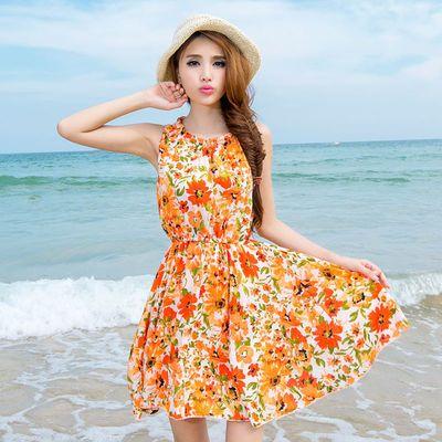 2020夏季新款雪纺连衣裙碎花沙滩裙海边衣服波西米亚短裙印花裙子