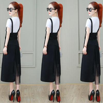夏季背带裙套装女2020新款气质拼接网纱中长裙子不规则连衣裙女装