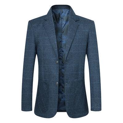 中年男士夹克西服春秋新款男装韩版修身休闲西装男薄款爸爸装外套