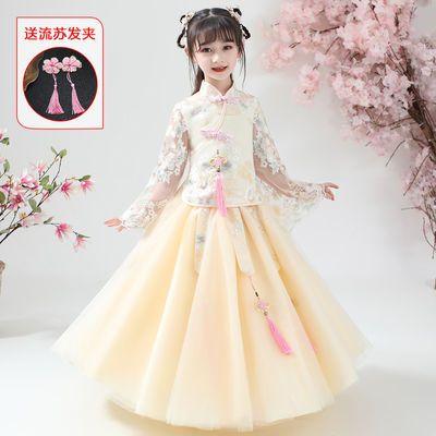 小女孩汉服改良旗袍女童春装中国结七分袖复古立领盘扣华服刺绣