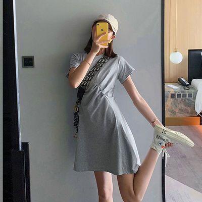 纯棉连衣裙女夏仙女裙春秋法式复古显瘦收腰小个子2020新款短款裙