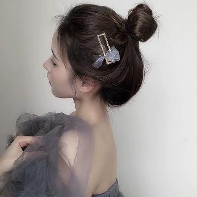 小仙女绢纱蝴蝶结发夹镶钻头夹水晶夹刘海边夹2020新款鸭嘴夹发饰