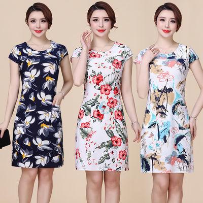 年轻妈妈装连衣裙夏季显瘦大码弹力印花短袖碎花中老年女装裙子