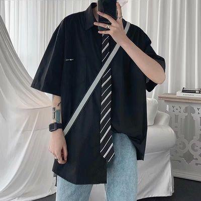 白衬衫男短袖ins港风设计感宽松百搭学生学院风衬衣男韩版送领带