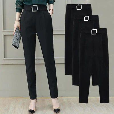 2020夏季新款时尚洋气大码裤子女宽松显瘦高腰松紧休闲西装哈伦裤