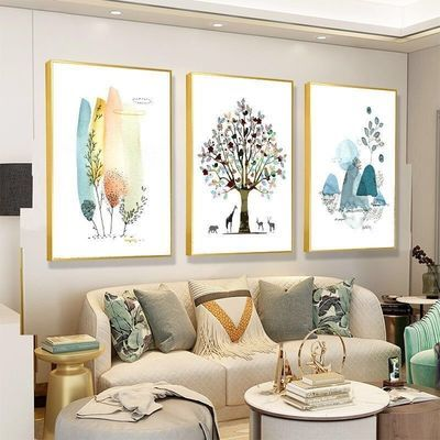 北欧客厅装饰画现代简约沙发背景墙壁画有框三联画ins风格餐厅画