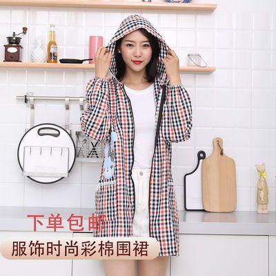 新款围裙女成人服饰带帽围裙厨房上班工作防油污韩版时尚
