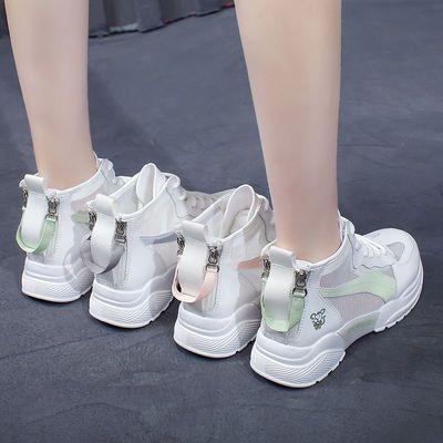 双拉链高帮网面运动鞋女20夏新款韩版学生小白鞋网红透气休闲板鞋