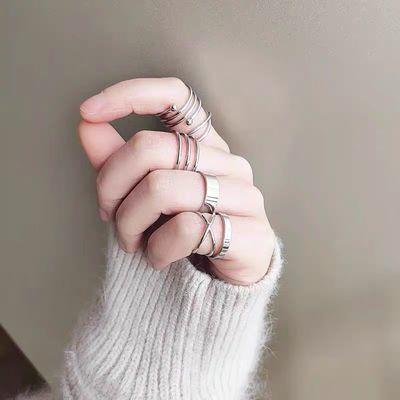 戒指酷暗黑系男女百搭实用组合气质朋克蹦迪戒指女时尚嘻哈