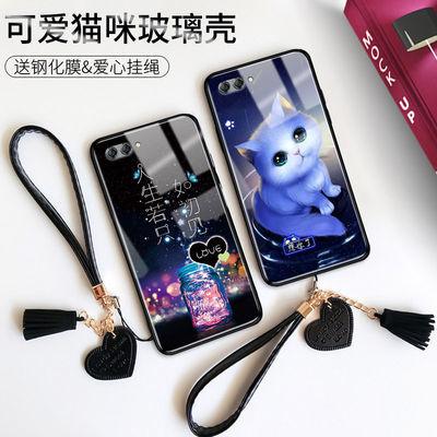 华为nova2s手机壳玻璃/华为nova2plus/Nova2/可爱猫咪防摔保护套