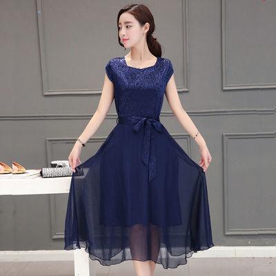 短袖真丝连衣裙2020夏新款显瘦时尚桑蚕丝裙子淑女大码气质中长裙